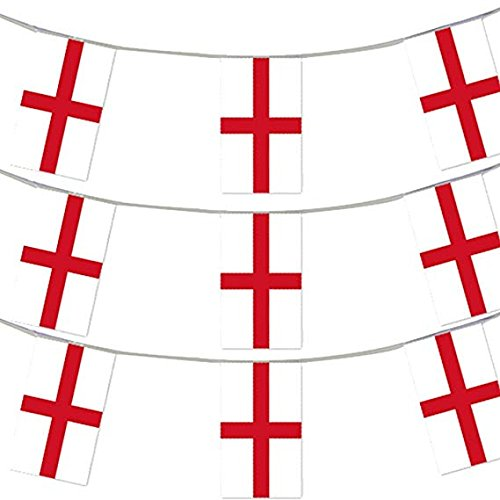33FT 10 METERS ST GEORGE FLAG BUNTING ENGLISH PARTY EURO DECORATION LARGE EUROPEAN HUGE 20 X 30CM ALL WEATHER PLASTIC BUNTING ENGLAND FLAGS ROYAL ENGLISH FLAG EVENT BANNER SCHOOL NATIONAL DAY ST GEORGE'S DAY ENGLISH THEME