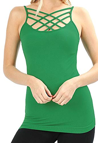 - Re.Born RBWT028_6660 Womens Crisscross Lattice Front Seamless Round Neck Cami KellyGreen 2X3X