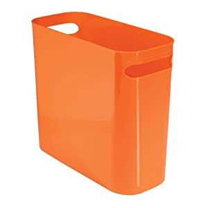 "mDesign Slim Plastic Rectangular Small Trash Can Wastebasket, Garbage Container Bin with Handles for Bathroom, Kitchen, Home Office, Dorm, Kids Room - 10"" High, Shatter-Resistant - Orange"
