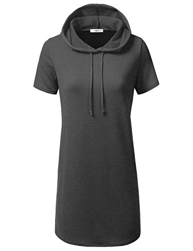 CLOVERY Women's Casual Oversized Crew Neck Sweatshirts Loose Fit Pullover Tunic Charcoal L