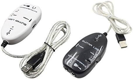 ギター USBインターフェイスリンクケーブル オーディオアダプタ録画機器 デバイス ブラック