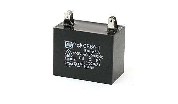 8uF 450V AC acondicionador de aire del ventilador eléctrico del ...