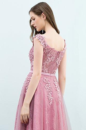 Rückenfrei Brautjungfernkleid Applique Abendkleid Damen rosa Tüll Kurz 46 32 Gr Alt Prinzessin Ballkleid qwXYwx4F