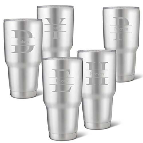 Set of 5 Húsavík 30 oz. Stainless Steel Double Wall Insulated Tumbler - Personalized Tumbler - Stamped Monogram Tumbler by A Gift Personalized