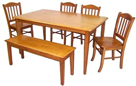 Amazon.com - Boraam 86136 Shaker 6-Piece Dining Set, Oak - Table ...