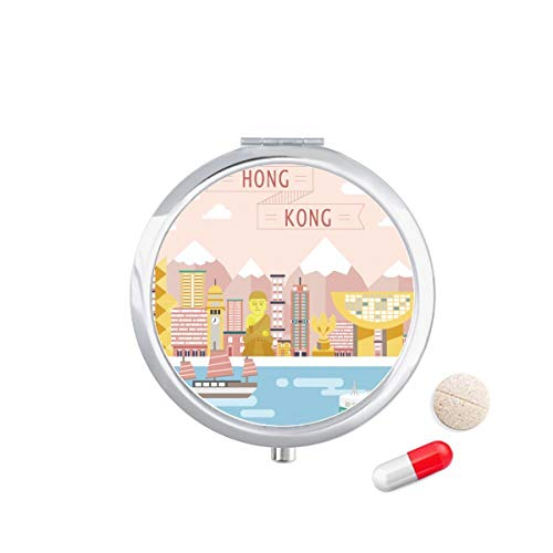 Harbour Mirror - LLgLOOhoOPPPJDh Hong Kong Traditional Visiting Harbour Travel Pocket Pill case Medicine Drug Storage Box Dispenser Mirror Gift