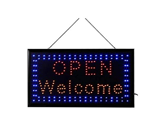 Letrero cartel Panel LED iluminacion negocio abierto open bar locutorio restaurante peluquería cafe (OPEM-WELCOM)