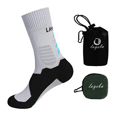 Layeba 100% Waterproof Breathable Socks [SGS Certified] Unisex Outdoor Sports Hiking Trekking Skiing Socks 1 Pair (Grey, Medium)