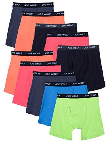 Joe Wolf 10 Pack Men's Cotton Blend Spandex Boxer Briefs Underwear (XX-Large, Brighter) -