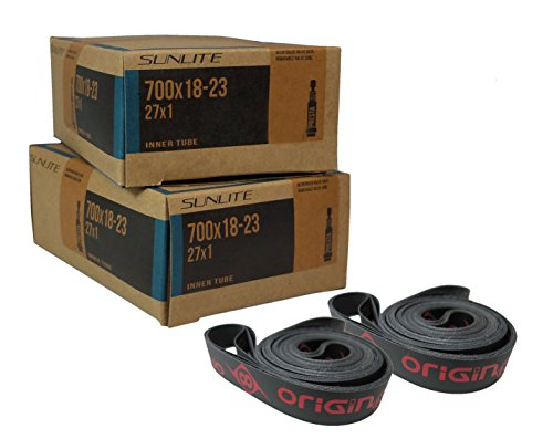 2 Tubes & Rim Strips, 700 x 18-23 (27 x 1) 80mm Presta Valve Inner Tube with 16mm PVC Rim Strip, Sunlite Tubes Origin 8 OR8. Road, Triathalon, Recumbent and Others of The Same tire Size. ()