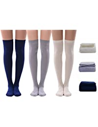 Women's Over Knee High Socks, MEIKAN 3 Pack Fashion Cotton Cosplay Thigh High Socks