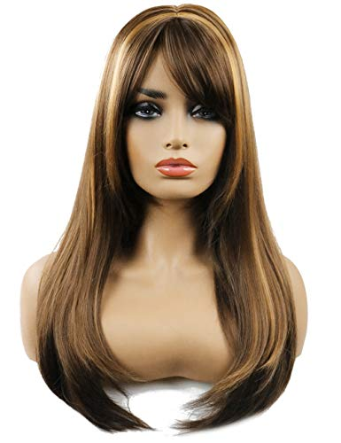 - TopWigy Women Brunette Wig Synthetic Heat Resistant Long Straight Layered Wig with Bangs Brown with Highlights Daily Wear
