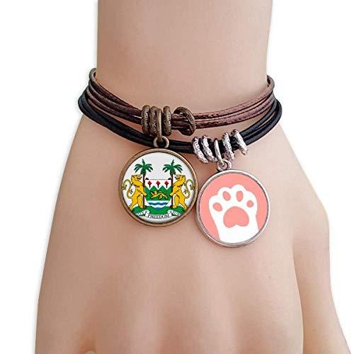 DIYthinker Sierra Leone Africa National Emblem Cats Bracelet Leather Rope Wristband Couple Set by DIYthinker