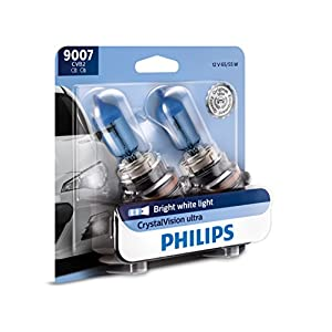 Philips 9007 CrystalVision Ultra Upgraded Bright White Headlight Bulb, 2 Pack