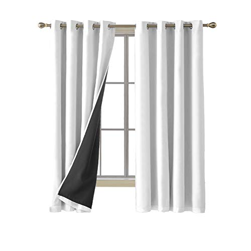 Deconovo Total Blackout Curtains White Grommet Thermal Insulated Room Darkening Microfiber Lined White Window Curtains 52W x 72L inch White 2 Panels