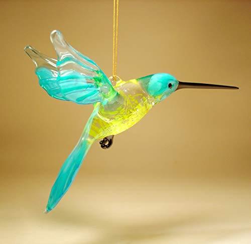 Blue Glass Hanging Hummingbird Ornament