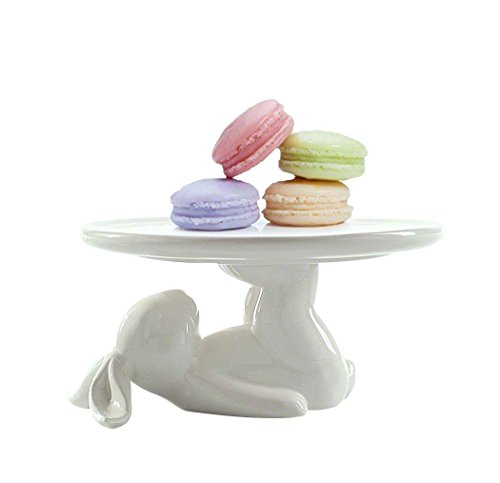 LA JOLIE MUSE Cupcake Stand Ceramic Dessert Plates for Snacks and Cookies, Halloween Candy Dish, 6.6 Inch White, Bunny Party Kitchen Decor -