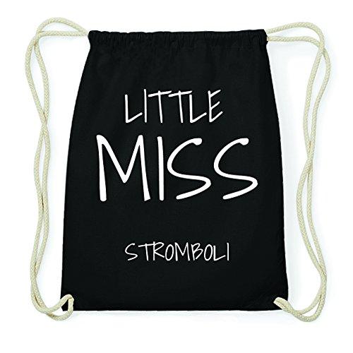 JOllify STROMBOLI Hipster Turnbeutel Tasche Rucksack aus Baumwolle - Farbe: schwarz Design: Little Miss
