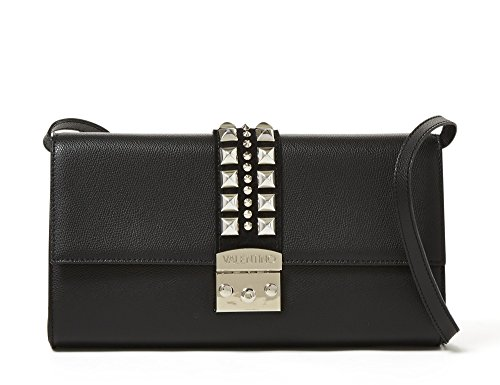 Valentino By Mario Valentino Paulette Studded Leather Shoulder Bag - Black (Studded Flap Suede)