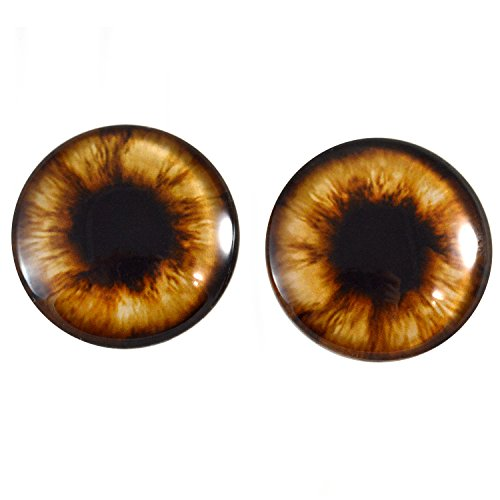 40mm Pair of Brown Teddy Bear Glass Eyes for Jewelry Making, Dolls, Sculptures, More
