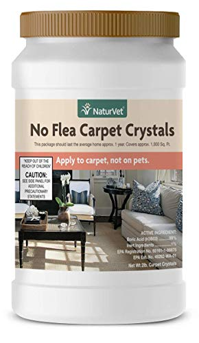 NaturVet - No Flea Carpet Crystals - 2 lb - Dry Crystal Powder Repels & Kills Fleas - Apply to Carpet, Upholstered Furniture & Other Household Surfaces - Not for Direct Use on Pets (Products To Kill Fleas In The Home)