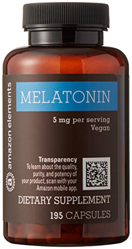 Amazon Elements Melatonin 5mg, Vegan, 195 Capsules