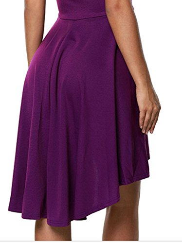 Bestfort Damen Abendkleid Kurz Elegant Bandeau kleid Cocktailkleid Kleid Spitze Kurze Ärmel Partykleid Evening Dress Dark Purple Tw382zg1Pd