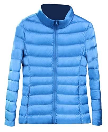 Up Weight Collar Stand Women's Light Sleeve Jacket Zip XINHEO Long Blue Sky Pocket Fit Down aBqxwv0H