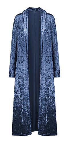 ezShe Women's Velvet Lapel Collar Open Front Long Cardigan Trench Coat Blue L