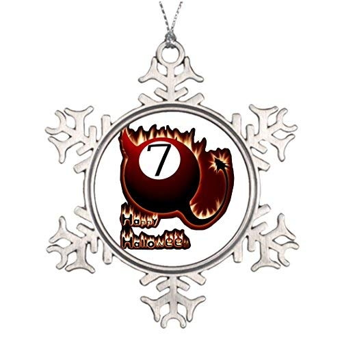 OneMtoss Christmas Snowflake Ornament Best Friend Snowflake Ornaments APA Happy Halloween 7 Ball Devil Funny Christmas Snowflake Ornaments -