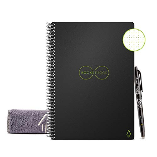 Rocketbook Smart Reusable Notebook - Dot-Grid Eco-Friendly Notebook with 1 Pilot Frixion Pen & 1 Microfiber Cloth Included - Infinity Black Cover, Executive Size (6