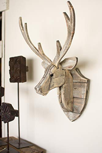 (KALALOU CGU2225 RECYCLED WOODEN DEER HEAD WALL)