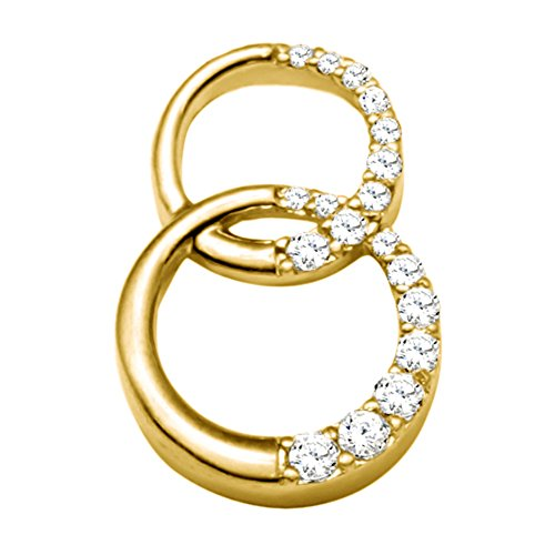 - TwoBirch 14k Yellow Gold 14k Yellow gold Double Circle Pendant with Chain set with Diamonds G-H I1-I2 (0.36 ct. twt.) with Diamonds (0.36 ct. twt.)