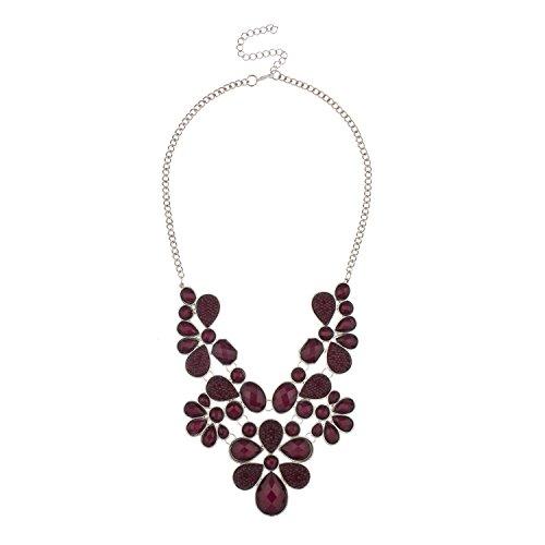Lux Accessories Faceted Caviar Plum Teardrop Stone Large Statement Faux Rhodium Chain - Teardrop Necklace Faux