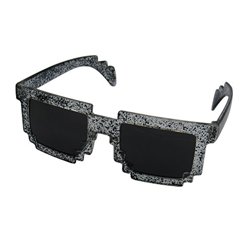8 Bit Pixel Kids Sunglasses Black Spatter - Novelty Retro Gamer Geek Glasses for Boys and Girls Ages 6+ by EnderToys