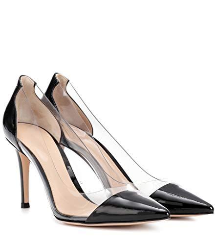 Femme À Transparent Aiguille Enfiler Stiletto Sandales Taille Chaussure Talon Soirée Escarpins Patentblack EDEFS H85wOqH