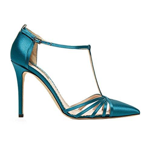 Kolnoo Womens Fashion Handmade Gessica Barker Sarrie Satin High Heel Pumps T-strap Shoes Blue