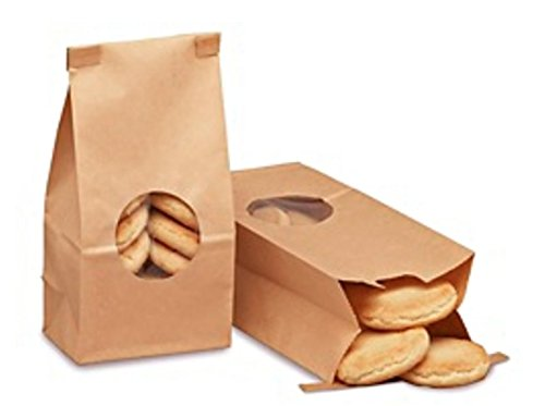 A1BakerySupplies Bakery Bags with window (1/2 LB, Brown, 25)25 - KRAFT 1/2 lb tin tie coffee bakery bags w/window