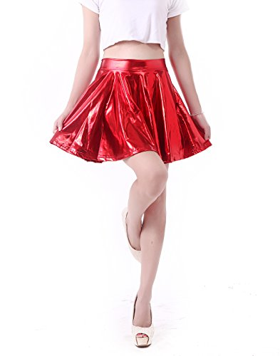 Women's Casual Fashion Flared Pleated A-Line Circle Skater Skirt (Red, X-Large)