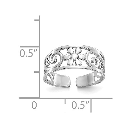 Jewels By Lux 14k White Gold Floral Toe Ring by Jewels By Lux (Image #3)