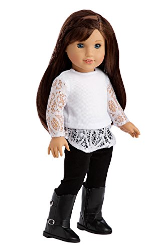 DreamWorld Collections - Just Fun - 3 Piece Outfit - White Blouse, Black Leggings and Black Boots - Clothes Fits 18 Inch American Girl Doll (Doll Not Included)