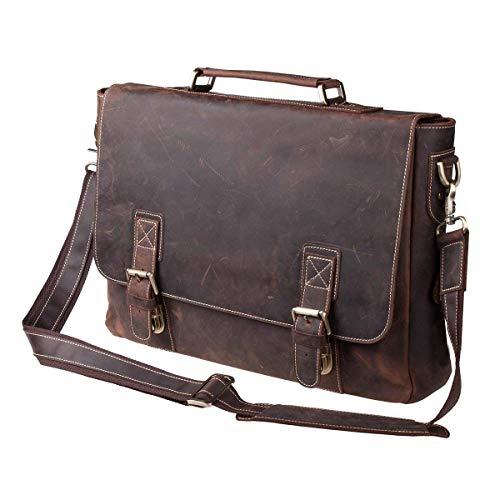 """S-ZONE Handmade Vintage Crazy Horse Leather 15.6"""" Laptop Briefcase Messenger Bag Shoulder Satchel Bag by S-ZONE (Image #7)"""