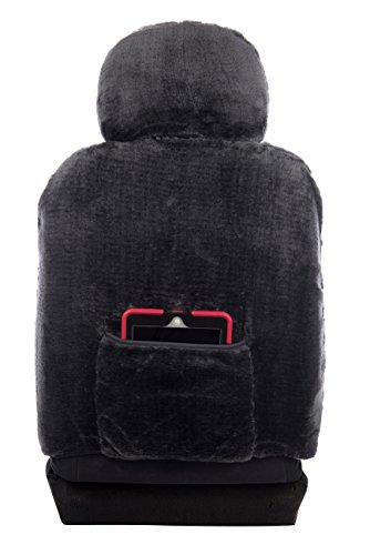 Sheepskin Car Seat Covers, Premium Set of 2, Genuine Australian Sheepskin Front, Universal Size, Back Storage Pocket, Stylish Design, Gray Color by Eden & Main (Image #4)