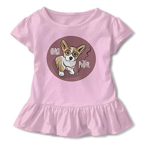 Sea Turtle Playing Hula Hoop Toddler Baby Girls' Cotton Ruffle Short Sleeve Top Basic T-Shirt 2-6T Pink ()