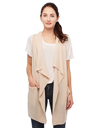 Knit Minded Womens Soft Acrylic Fine Gauge Fly Away Sleeveless Vest With Two Pockets Natural Beige Medium (Rain Gauge Design)