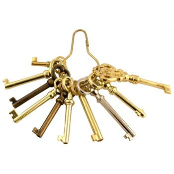 Antique Lock Furniture - KY-10S Reproduction Antique Skeleton Key Set + Free Bonus (Skeleton Key Badge)