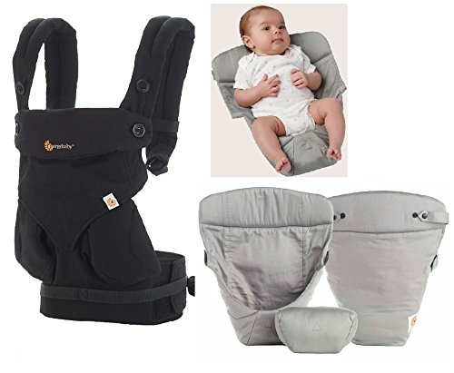 Ergobaby baby carrier 360 Pure Black (new 2016 color) Including Grey Insert...