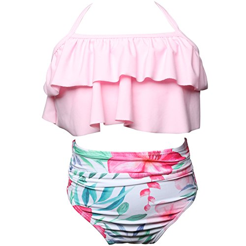 KABETY Girls Swimsuit Two Pieces Bikini Set Ruffle Falbala Swimwear Bathing Suits (Pink, 5-6 Years)]()