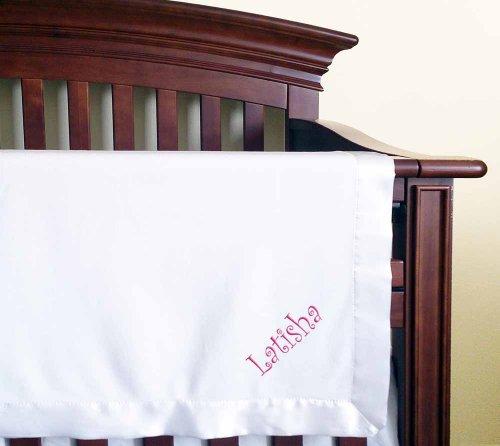 Latisha Girl Name Embroidery Microfleece White Baby Embroidered Blanket