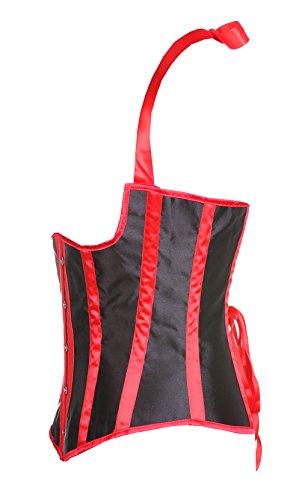 DarDuGo Women's Black Stripe Underbust Waist Training Corset With Shoulder Straps Red 6XL(US SIZE 18-20)